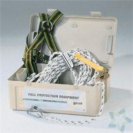 Miller Roofing-Kit, samenstelling:harnas DuraFlex MA04; 15m levenslijn met lijnklem; kunststof koffer